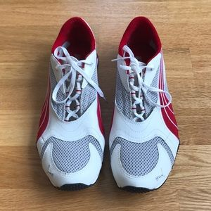 PUMA Red White Grey Sneakers. Size 11.